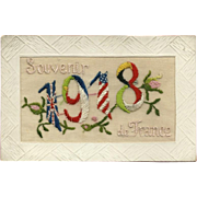 Silk 1918 Postcard Souvenir of France