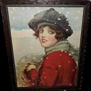 Frank Desch Vintage Print of Pauline - Lady in Snow