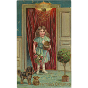 Embossed Postcard with Girl and Dog - Affection's Offering