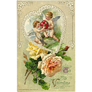 John Winsch 1912 Embossed Valentine Postcard with Cherubs and Roses