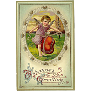 Embossed Glossy German Valentine Postcard 1916