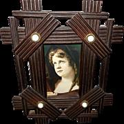 Folk Art Wood Frame with Porcelain Buttons
