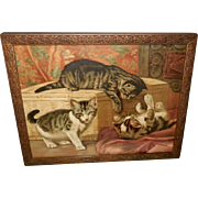 SALE PENDING Cute Vintage Framed Print of Three Mischievous Kittens