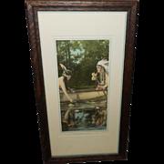 SALE PENDING Native Amerian Indian Couple Calendar Aquatint Print - A Forest Romance