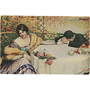 Artist Signed Vintage Postcard of Sad Couple