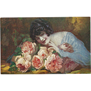 Italian Vintage Artist Signed Postcard of Lovely Lady with Flowers