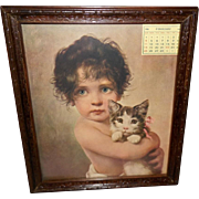 Bruno Piglhein 1906 Print of Young Girl with Kitten