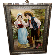 Petite Chromolithograph Embellished with Glitter of Young Couple