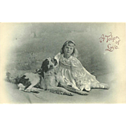 German Postcard of Girl with Dog - A Token of Love