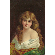 Undivided Postcard of Long Haired Blonde Woman