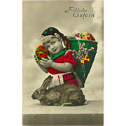 German Tinted Photo Easter Postcard of Young Girl with Rabbit