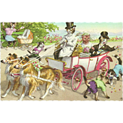 Mainzer Dressed Cats Postcard - Wedding Coach