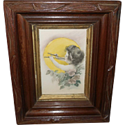 H.A. Weiss Hand Tinted Print of Cherub with Horn - Deep Frame