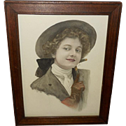 Hand Tinted Early 1900's Print of Lady in Riding Outfit