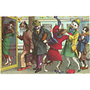 Mainzer Dressed Cats Postcard - Bedlam at the Telephone Booth