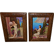 Pair of Small Art Deco Lady Calendar Prints in Wood Carved Frames