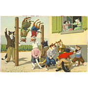 Max Kunzli Dressed Cats Postcard by Mainzer - Playground Exercise