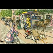 Max Kunzli Dressed Cats Postcard by Mainzer - Horse Drawn Street Car