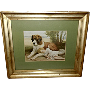 R. Atkinson Fox Framed Print of A Safe Companion - Sleeping Girl with St. Bernard Dog
