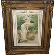 Framed Calendar Print of Lady by Clear Waters - Wood and Gesso Frame