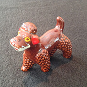 REDUCED Redware Poodle Brown Glazed Dog Figurine from Japan