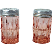 SOLD Jeannette Windsor Diamond Pink Depression Glass Salt and Pepper Shakers
