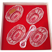 SOLD West Germany Crystal Salt Dips with spoons - Set of Four in Original Box - Red Tag Sale I
