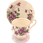 Royal Albert Bone China Flower of the Month Violets Teacup and Saucer