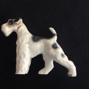 REDUCED Standing Wire Fox Terrier Vintage Porcelain Dog Figurine