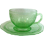 SOLD Hazel-Atlas Florentine No. 1 'Poppy' Green Depression Glass Cup and Saucer