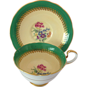 Aynsley Bone China C551 Green and Gold Footed Cup and Saucer