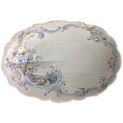 SOLD Hand Painted Blue Forget-Me-Nots Oval Dish Marked 'France'