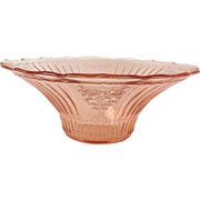 "Hocking Mayfair ""Open Rose"" 12 Inch  Pink Depression Glass Scalloped Fruit Bowl"
