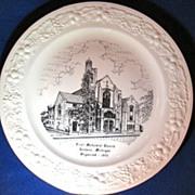 REDUCED First Methodist Church Jackson Michigan Commemorative Plate Homer Laughlin Theme Circa