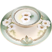 REDUCED RS Tillowitz Silesia White Camellias Two-Tiered Cheese and Cracker Serving Plate