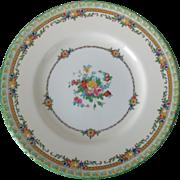 Minton B1201 Enameled Flowers Green Rim Dinner Plate Circa 1920s