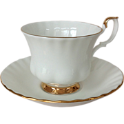 Royal Albert Val D'or White Bone China Cup and Saucer with Gold Trim
