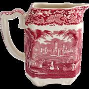Mason's Vista Ironstone Red Pink Transfer Ware Larger Square Creamer