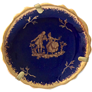 Limoges France Miniature Cobalt Blue and Gold Waltz Figural Plate with Display Stand