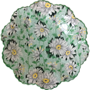 REDUCED Shelley Bone China Chintz Green Daisy 4-1/2 inch Dainty Shape Nut Dish