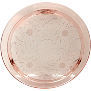 SOLD Jeannette Sunflower Pink Depression Glass Cake Plate
