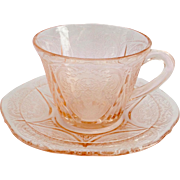 Hazel-Atlas Royal Lace Pink Depression Glass Cup and Saucer