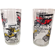 Two Vintage Automobile Glass Tumblers with Historical Information for Ford, Cadillac, Buick, .