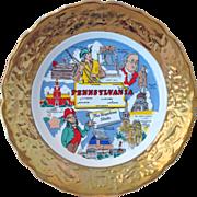 Pennsylvania State Souvenir Plate Gold Encrusted Rim Sabin's Industries Crown O' Gold Circa ..