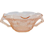 Hazel-Atlas Florentine Number 1 Poppy Pink Depression Glass Handled Cream Soup or Ruffled Nut