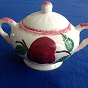 REDUCED Blue Ridge Southern Potteries Crab Apple Covered Sugar Bowl
