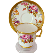 SALE Royal Chelsea Bone China 5007A Gold and Floral Cabinet Teacup and Saucer
