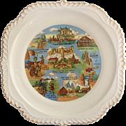 Harker Gadroon Edge 1950s Illinois State Souvenir Plate