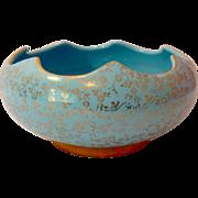 Pearl China Company Circa 1940s Scalloped Bowl Sky Blue 22K Gold Decoration