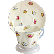 Shelley Bone China Rose Pansy Forget-Me-Not Floral 13424 Blue Handle Dainty Shape Teacup ...